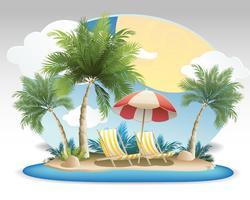 Sommer-Seevektoren mit Palmen