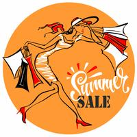 Summer sale.  Lettering. The girl runs to shop. Tag design for discount. Shopping on site. Vector illustration.