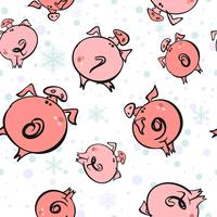 Seamless pattern. Flying Christmas pigs . The sky snowflakes. Vector.