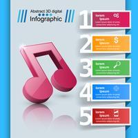 Muziekonderwijs Infographic. Opmerking pictogram. vector
