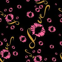 Seamless pattern. Romantic print for fabric. Love. Lettering. Kiss. Lip print. Valentine.Pink On black background .Vector