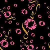 Nahtloses Muster. Romantischer Stoffdruck. Liebe. Beschriftung. Kuss. Lippenabdruck. Valentine.Pink auf schwarzem Hintergrund .Vector