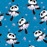 Bailarinas de pandas bailar. Patrón sin costuras Tela estampada para niños. Vector