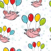Seamless pattern. Flying pigs on balloons. The sky snowflakes. Vector. vector