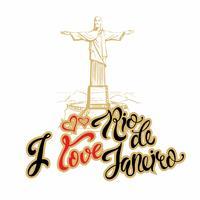 Reise. Reise nach Brasilien. Ich liebe Rio de Janeiro. Beschriftung. Skizzieren. Die Statue von Christus dem Erlöser. Vektor-illustration