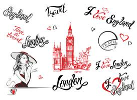 England. London. Set of elements for design. Lettering. Big Ben sketch. Girl in a hat drinking tea. Vector.