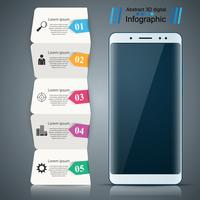 Gadget digitale, infografica business smartphone.