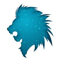 Paper lion illustration. Blue star. vector