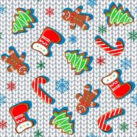 Knitted fabric with gingerbread and snowflakes. Seamless pattern. White. Vector.