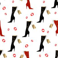 Women's boots. Seamless pattern. Lipstick print. White background.Vector