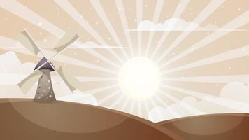 Paisagem quente dos desenhos animados. Moinho, nuvem, sol.