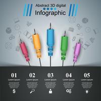 Educación musical infografía. icono de cable.