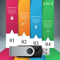 USB-pictogram. Vier items papier infographic.