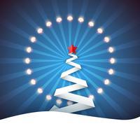 Ribbon paper fir. Snow, ray, star, light, garland.