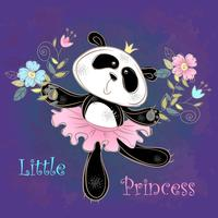 Bailarina de la panda linda bailando. Pequeña princesa. Vector