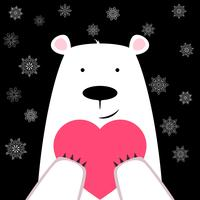 Oso polar lindo divertido con el corazón.