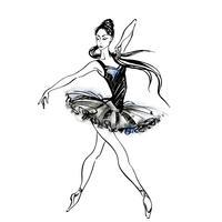 Bailarina. Ballet. Bailarina en los zapatos de pointe. Ilustración vectorial de acuarela