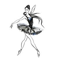 Ballerina. Ballet. Dancing girl on Pointe shoes. Watercolor Vector illustration.