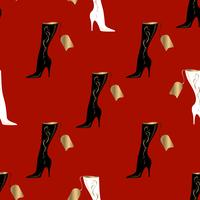 Women's boots. Seamless pattern. Red background.Vector illustration. vector