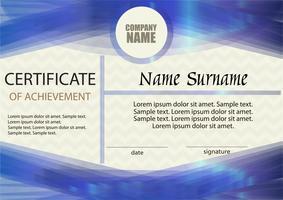 Certificado de realização ou modelo de diploma. Horizontal. Vencedor do prêmio. Ganhando a competição. Recompensa. O texto na camada separada.