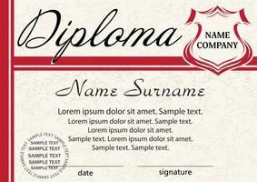 Modèle de diplôme ou certificat. Design rouge élégant. Vecteur