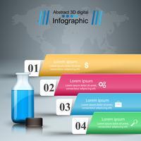 Infografía médica. Botella con receta. Ejemplo del vector del estilo de la papiroflexia de Infographics del negocio.