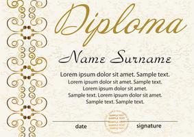 Diploma of certificaatsjabloon. Prijswinnaar. Beloning. De competitie winnen. Elegant gouden frame met een ornament. Vector
