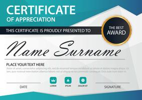 Blue polygon Elegance horizontal certificate with Vector illustration ,white frame certificate template with clean and modern pattern presentation