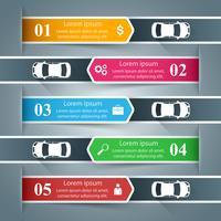 Infographie de l'entreprise de papier. Voiture, icône de la route.