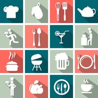 Cooking and kitchen icon set with long shadow