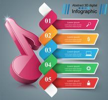 3D Notizsymbol. Musik-Infografik.