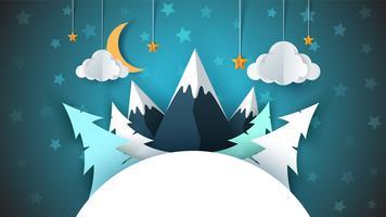 Paisaje de papel de dibujos animados de invierno. Feliz Navidad Feliz Año Nuevo. Abeto, luna, nube, estrella, montaña, nieve.