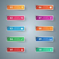 Infographik Design. Liste mit 10 Artikeln.