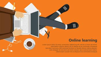 On line learning business banner. Man sitting and holding lap top in his lap