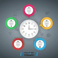 Five bubbles paper. Clock icon. vector