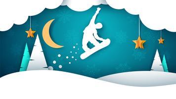 Paisaje de papel de dibujos animados de snowboard. Abeto, luna, copos de invierno.