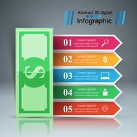 Progettazione infografica 3D. Icona del dollaro.