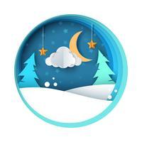 Ilustración de la noche de papel. Abeto, luna, nube, nieve, estrella.