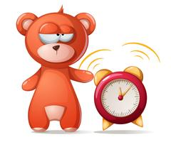 Sleeping bear illustration. Funny, cute alarm clock.
