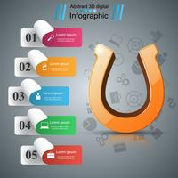 Horseshoe 3d icon - business infographic.