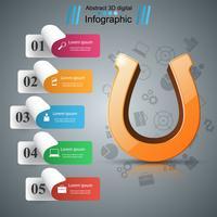 Icono 3d de herradura - infografía de negocios. vector