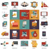 Vector Sammlung flache und bunte Geschäfts-, Marketing-, Finanz-, Bildungs- und Technologiekonzepte