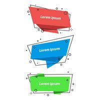 Bolhas do discurso geométrica, banners, adesivos no estilo origami