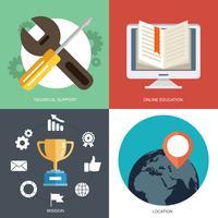 Collection de vecteur de concepts plats et colorés d'affaires, marketing, finance et éducation