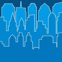 Stylish blue modern city silhouette in line art