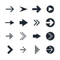 Vector set of black different Arrows Icon