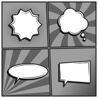 Vector set of empty template comic text speech bubbles