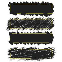 Trendy banners,borders of ink brush strokes,vector set