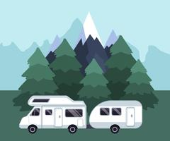 Camping travel landscape. Camping van on a camping site vector