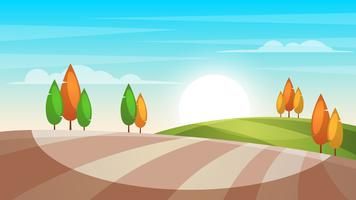 Cartoon Landschaft Illustration. Baum, Sonne, Feld.